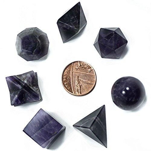 Green Cross Toad Sólidos platónicos en Amatista, Formas de geometría Sagrada, para curación de Cristales y Feng Shui, con Bolsa para Guardar