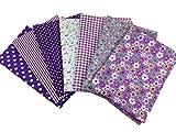 7 pcs XL 50*50 cm en coton mélanges Craft Tissu Bundle carrés Patchwork peluches DIY Couture Scrapbooking quilting Dot Motif floral Artcraft violet