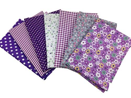 7Pcs Baumwollstoff Patchwork Stoffe DIY Gewebe Quadrate Baumwolltuch Stoffpaket zum Nähen mit vielfältiges Muster 50x50cm (Violett)