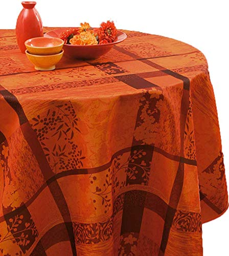 Nappe anti-taches Jacquard rouge - taille : Ovale 150x240 cm
