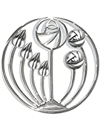 Heather Needham Silver Sterling Silver Rennie Mackintosh Brooch - Tulips design - SIZE: 36mm X 17mm 9107 Gift Boxed