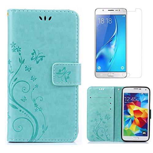 OYIME Tasche für Samsung Galaxy S5 / S5 Neo Hülle Leder und Displayschutzfolie Grün Blumen und Schmetterling Muster Handyhülle zum Klappen Klappbar Magnet Kartenfach Vollschutz Klapphülle Original -