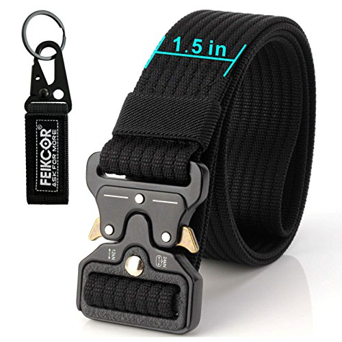 FEIKCOR Tactical Belt Resistant Belt for Men Military Belt DE 1,5 '' Fastening Belts Fastening Nylon Belt with Metal Buckle (Black-N022)