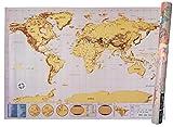 Mappa Del Mondo Da Grattare - Scratch Map - XXL - Deluxe Edition - Cartina Geografica Fisica-Politica Con Nazioni Colorate Grattabili Singolarmente.