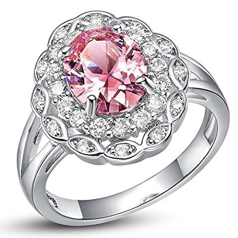 KnSam Bague Argent Femme Anneau Mariage Bagues Plaqué Or Blanc Fleur Cluster Pave Rose Taille 59 Incrusté Cristal [Bague Mariage]