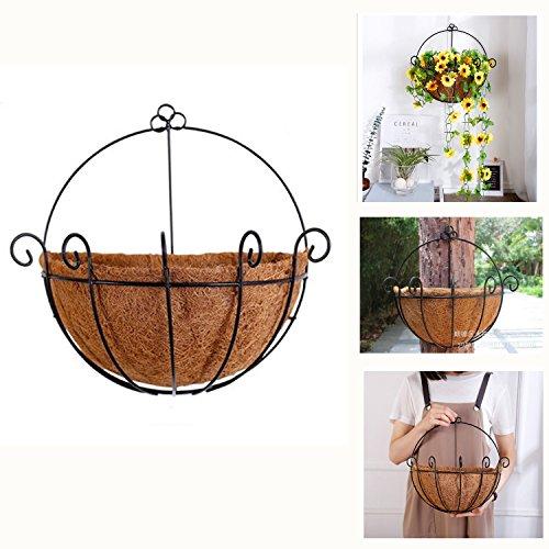 Yosposs cestino da parete in metallo a forma di vaso con rivestimento fibra di cocco, 30,6 cm, in ferro battuto ferro pianta holder- ideale per interni o esterni per piante