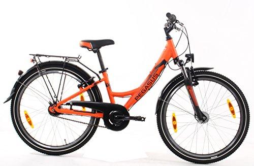 Kinderfahrrad 24 Zoll orange - Pegasus Avanti girl Trekkingrad - Shimano Schaltung 7 Gänge, Licht, Gepäckträger
