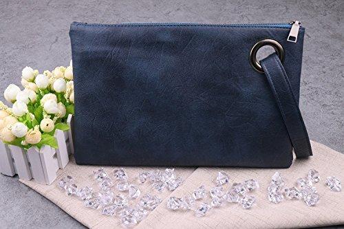 Swallowuk Frauen Leder Mode Handtaschen Retro Umschlag-Paket Handtaschen (Dunkelblau)