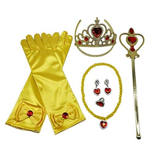 (Sharplace 2 Sätze Prinzessin Belle Kleid Kostüm Zubehör Handschuh Zauberstab Tiara Jewerly Set)