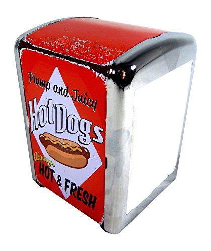 Retro American Diner Hot Dog Americano mesa servilletero dispensador de almacenamiento contenedor