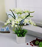 JFWMZyq Künstliche Blumen Topfpflanzen Home Dekoration Weiß Freesie