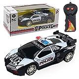 Balai 1:24 Modèle électriques Voitures RC Voitures de Police, 4 canaux télécommandés Jouets de Voiture, Cadeau de Voiture de Course pour Enfants Enfants