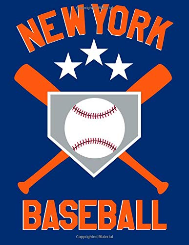New York Baseball: New York Baseball Fan Blanked Lined 100 Page 8.5 x 11 inch Notebook Journal for Writing and Taking Notes por Ventana Baseball