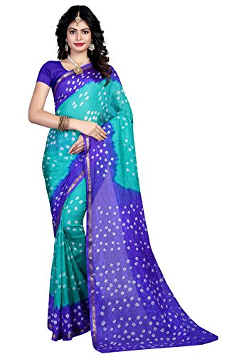 Shree Sondarya Bandhani Blue and Grey Tussar Silk Bandhani Saree With Blouse...
