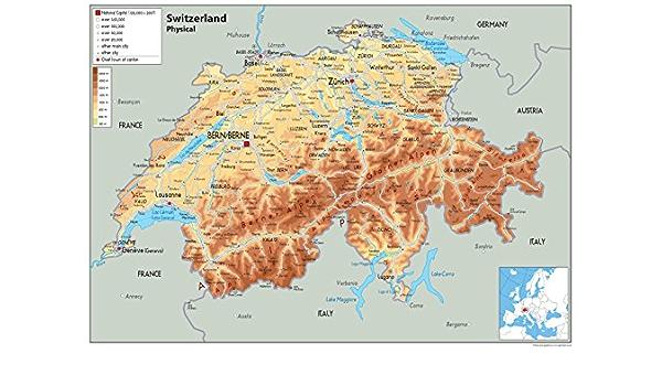 Svizzera Cartina Geografica Politica.Svizzera Mappa Fisica Carta Plastificata A0 Size 84 1 X 118 9 Cm Amazon It Cancelleria E Prodotti Per Ufficio