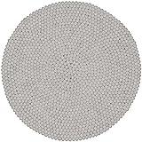 myfelt Linéa Filzkugelteppich, Rund, Schurwolle, weiß, Ø 90 cm