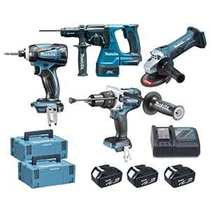 makita pack 4 outils makita dlx4033mj1 à batteries lxt 18v (3 x 4,0ah)