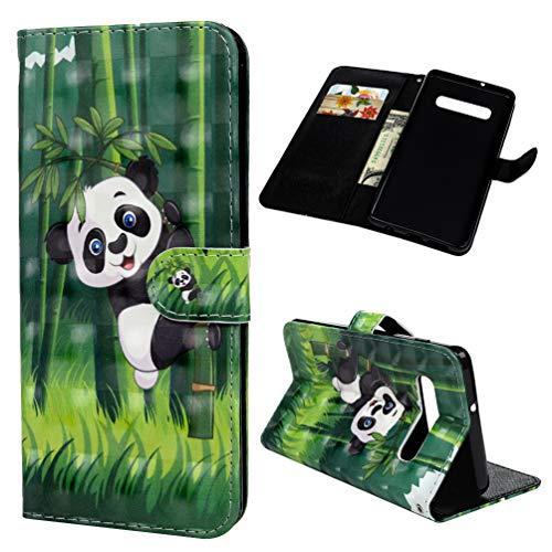 Für Samsung Galaxy S10, Handyhülle Ständer, Lederhülle Kunstlich [Handseil] Handtasche 360 Grad Vollständig Schutzhülle Magnetverschluss Hülle Bookstyle Komplett Rückschale, Panda ()