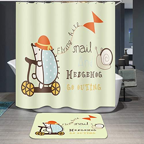 SunnyGod Accesorios de baño decoración de baño Cortina de baño del poliéster de la Historieta de la Cortina de Ducha de la impresión del Erizo de 1PC (tamaño : 180 * 180cm)