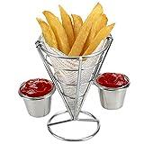 Hukz Galvanisieren Sie Edelstahl-Mini-Bratnetz-runde Block-Maschen-Küchengeräte,Zylindrischer Pommes-Korb,Imbissstand mit doppelter Tasse Pommes Stehen (A)