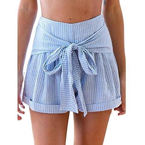 Jamicy Sexy Women Ladies Fashion Summer Blue Vertical Stripes Drawstring High Waist Sports Shorts Beach Short Pants