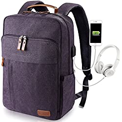 Estarer Sac à Dos Ordinateur Portable 17-17.3 Pouces en Toile Vintage avec Port de Chargeur USB Externe pour Travail Ecole Gris