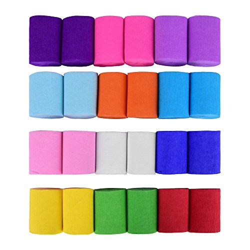 ewtshop 24 Krepp-Bänder, 12 Verschiedene Farben, jeweils 10 Meter x 5 cm, Krepppapier für Deko Party Feier Dekoration