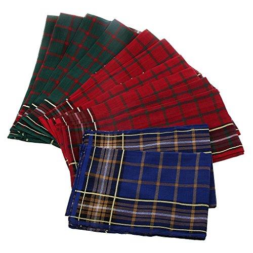Generic 12 (Generic 12st Männer vintage Platz Gitter Taschentücher Hankerchief Hanky Hochzeit Einstecktücher aus baumwolle - Farbe# 1, 40x40cm)