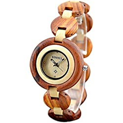 BEWELL Women's Wooden Watch Analog Quartz Movement with Lightweight Watch Band Made of Sandalwood Retro Style Beautiful and Elegant