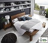 SAM Balkenbett 140x200 cm Alias, Akazien-Holz, Holzbett, FSC zertifiziert, Unikat