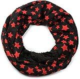 styleBREAKER Feinstrick Loop Schlauchschal mit Sterne Muster und kuschlig weichem Teddyfleece, Schal, Unisex 01017025, Farbe:Schwarz-Rot