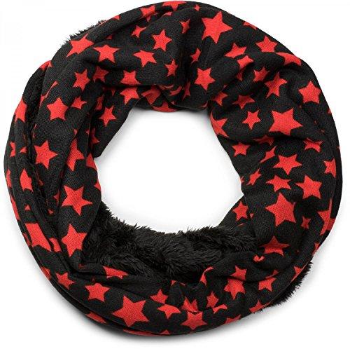 styleBREAKER Feinstrick Loop Schlauchschal mit Sterne Muster und kuschlig weichem Teddyfleece, Schal, Unisex 01017025, Farbe:Schwarz-Rot (Flanell-schal)