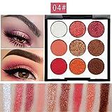 Lidschatten,OHQ 9 Farbe Make-up Lidschatten Pulver Palette Matt Lidschatten Kosmetische Perle Glitter (D)