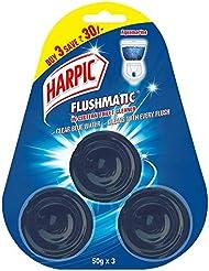 Harpic Flushmatic Toilet In-Cistern Block, Aquamarine - 50 g (Pack of 3)