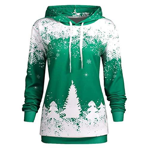 (Soupliebe Damen Herbst Winter Weihnachten Printing Langarm Kapuzen Sweatershirt Top Bluse Kapuzen Sweatjacke Kapuzenpullover Hoodie Pullover)