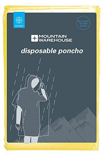 Mountain Warehouse Unisex Einmal-Poncho - Regenmantel mit Tasche, leicht, wasserfest, praktischer Poncho - Ideal für ganzjähriges Camping, Festivals, Reisen Gelb