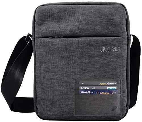 JP Journey Set RFID Umhängetasche und Kartenetui - für Reise und Arbeit mit Tablet Fach bis 11