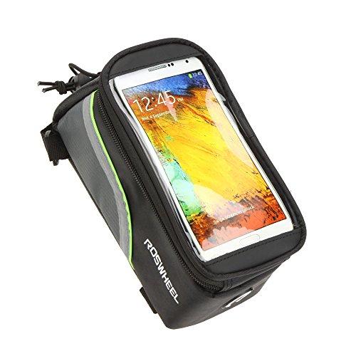 Roswheel Borsa /custodia touch screen bicicletta Ciclismo anteriore per bicicletta telaio in tubo superiore sacchetto in PVC trasparente con la linea di estensione audio per 5.5/4.8/4.2cellulare smartphone apple iphone 3 - 4 - 4S - 5 -6 ipod touch 1.7L (Nero & Verde Lines 4.8