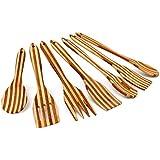 Relaxdays Ustensiles de cuisine Lot de 7 pièces s en bambou Spatules cuillères à suspendre l x L: 6,5 x 31 cm tourne broche cuillère sauce, marron