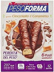 Pesoforma Barrette Cioccolato e Caramello - Pasti sostitutivi dimagranti SOLO 237 Kcal Ricco in proteine - 6 p