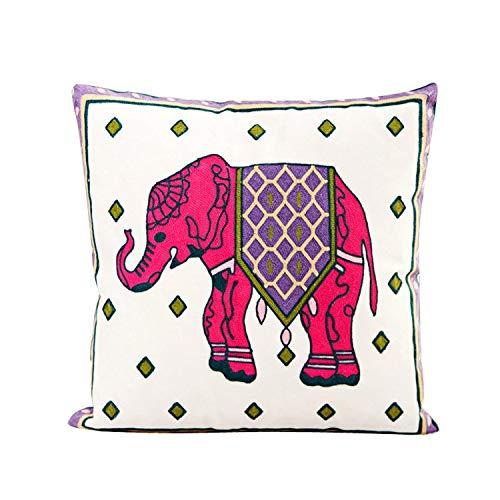 Ogquaton Funda de cojín de algodón Elefante Rosa Funda de cojín Sofá Decoración de Cama para el hogar Durable y útil