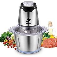 Nestling® Picadora eléctrica de 500W, con 4 cuchillas afiladas y tazón de acero inoxidable de 1.2L, picadora de cocina para carne, verduras,cebolla y frutas