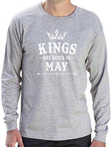 Geschenk Shirt für den Mann - Kings are born in Mai Langarm T-Shirt Grau