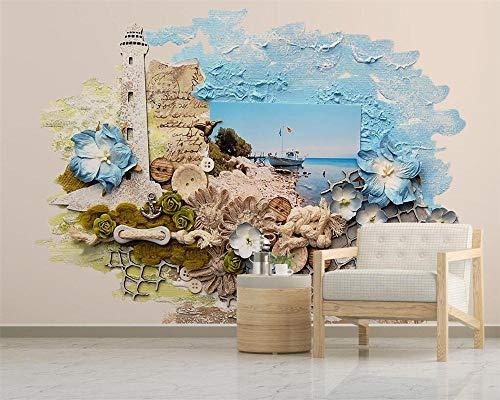 NIdezuiai Wandbild,Anpassen Von 4D-Tapeten Vintage Mediterrane Landschaft Stil Hd-Kunst Drucken Wandmalerei Poster Bild Große Seide Wandbild Für Schlafzimmer Wohnzimmer Wand Dekor