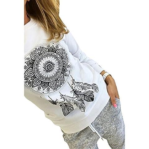 Vovotrade Les femmes à la mode à manches longues plumes d'impression T-Shirt Casual Blouse Tops (EU Size:40, Blanc)