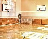 Alu-Dibond-Bild 90 x 70 cm: 'Empty School gym with basketball boards', Bild auf Alu-Dibond