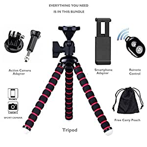 GotiTronics Universal Flexible Adjustable Octopus Tripod Stand with Quick Release and Bubble Spirit Level for SLR/DSLR Cameras (up to 3kg in weight), Camcorders, Action/Digital Cameras and Smartphones (Tripod, GoPro and Smartphone Adapter & Wireless Remote Control - Black/Red)