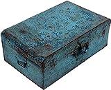 Guru-Shop Alter Blechkoffer Antiker Metallkoffer in Verschiedenen Farben, Größen, Antik-blau, 20x57x30 cm, Truhen, Kisten, Koffer