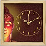 [Sponsored]Beautiful Canvas Painting Designer Square Shape Wall Clock Cum Table Clock With Sweep Mechanism With Glass And Natural Wood Frame Cum Beautiful Modern Art Painting Beautiful Showpiece Cum Wall Décor For Living Room,Bedroom Home Office Re