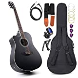 Vangoa Guitarra Acústica Eléctrica para Zurdos 41 pulgadas Tamaño Completo Guitarra Ecualizador de 4 Bandas con kits para principiantes, Negro